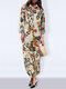 Leaves Floral Print Long Sleeve Vintage Jumpsuit For Women - Yellow