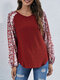 Floral Print Long Sleeve V-neck Casual T-shirt for Women - Red