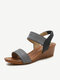 Women Fashion Comfy Soft Wearable Casual Elastic Slip On Wedges Sandals - Black
