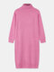 Women Solid Color High Neck Long Sleeve Knitted Casual Dress - Pink
