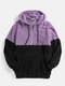 Mens Patchwork Half Zipper Fluffy Pouch Pocket Teddy Hoodie - Purple
