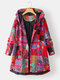 Ethnic Print High Low Hem Plus Size Hooded Jackets with Pockets - Red