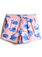 Mens Allover Cartoon Whale Print Quick Dry Drawstring Beach Board Shorts With Pocket - Pink