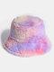 Donna Colorful Cappello secchio in peluche caldo Cappello da secchio elegante selvaggio sfumato esterno - #03