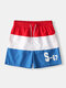 Mens Colorblock Patchwork Design Swim Trunks Drawstirng Waterproof Mid Length Board Shorts with Pockets - Red