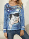 Cat Print O-neck Long Sleeve Casual Blouse for Women - Blue
