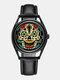 Vintage Alloy Genuine Leather Colorful Skull Pattern Dial Seconds Plate Men Quartz Watch - Black