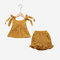 Girl's Bowknot Sleeveless Solid Color Ruffled Casual Clothing Set For 1-7Y - Yellow