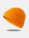 Bonnet unisexe en laine tricoté de couleur unie Casquettes de crâne Bonnets sans bord - Orange