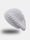 Women Rabbit Hair Blend Knitted Solid Color Thicken Warmth Beret - Gray