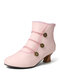 Women Large Size Casual Lace Studded Elegant Cone Heel Short Boots - Pink