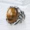 Vintage Natural Stone Ring Ancient Silver Carved Tiger Eye Stone Finger Ring - Silver