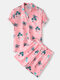 Mens Hawaiian Letter & Tropical Print Lapel Short Sleeve Drawstring Casual Two Piece Outfits - Pink
