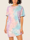 Women Tie Dye O-neck Short Sleeve Print Dress - Purple