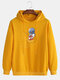 Mens Cartoon Astronaut Chest Print Solid Loose Drawstring Pullover Hoodies - Yellow
