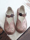 Women Sweet Casual Calico Band Hook Loop Hollow Out Comfortable Comfotable Flat Loafers Shoes - Pink