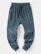 Mens Solid Color Drawstring Casual Jogger Pants With Pocket - Blue