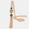 Vintage Luxury Geometric Agate Rhinestone Tassel Long Necklace Handmade Crystal Beaded Sweater Chain - Champagne