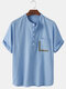 Mens Cotton Solid Color Light Daily Stand Collar Henley Shirts With Pocket - Blue