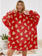 Women Allover Pizza Print Cartoon Loose Thicken Fleece Lined Home Oversized Blanket Hoodie - Red