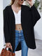 Solid Loose Dolman Long Sleeve Casual Cardigan for Women - Black