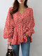 Lantern Long Sleeve V-neck Floral Print Women Blouse - Wine Red
