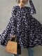 Daisy Floral Print O-neck Long Sleeve Blouse For Women - Navy
