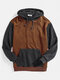 Mens Knitting Texture Color Bolck Stitching Patchwork Drawstring Hoodies - Brown
