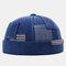 Men & Women Fashion Denim Pocket Patch Stitching Landlord Hat Skull Caps - Blue