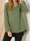 Striped Print Embroidered Button Side Slit V-neck Long Sleeve Blouse - Green