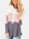 Color Block Patchwork Drawstring Long Sleeve Hoodie With Pocket - Pink