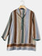 Striped Print Stand Collar Casual Plus Size Shirt for Women - Green