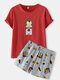 Women Cute Animal Print Crew Neck Cotton Comfy Pajamas Sets With Pocket - Red