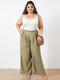 Solid Color Elastic Waist Wide Leg Plus Size Pants with Pockets - Khaki