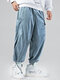 Mens Corduroy Solid Drawstring Cargo Pants With Multi Pockets - Blue
