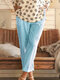Summer Solid Casual Shift Solid Pants With Pocket For Women - Blue