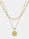 Luxury 14K Gold Plated Hexagonal Women Necklace Gold Layered Paperclip Link 26 Initials Pendant Necklace - W
