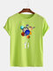 Mens Cotton Astronaut Colorful Planet Print O-Neck Casual Short Sleeve T-Shirts - Green