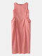 Solid Color Sleeveless Pockets Plus Size Long Dress - Rust Red
