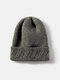 Unisex Knitted Solid Color Jacquard Brimless Flanging Outdoor Warmth Beanie Hat - Dark Gray