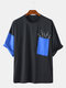 Mens Patchwork Print Chest Pocket Loose Casual O-Neck T-Shirts - Blue