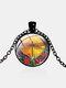 Vintage Dragonfly Printed Women Necklace Adjustable Flower Glass Pendant Necklace - Black