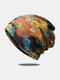 Women Dual-use Cotton Color-match Leaf Printed Elastic Casual Scarf Beanie Hat - Colorful