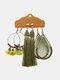 3 Pcs Vintage Irregular Women Earrings Set Drop-Shape Hollow Flower Hand-Woven Tassel Earrings - #01