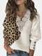 Leopard Patchwork Lantern Sleeves Plus Size Casual Sweater With Button - White