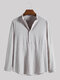 Mens Linen Solid Color Half Button Casual Long Sleeve Henley Shirts - Gray