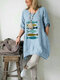 Cartoon Fishes Embroidery Loose Plus Size Blouse - Blue