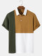 Mens Design Tricolor Patchwork Knitted Ribbed Texture Short Sleeve Golf Shirt - White