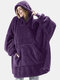 Women Bedsure Cozy Oversized Wearable Blanket Hoodie Warm Double Plush Robe With Large Front Pocket - Purple