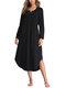 Asymmetrical Loose Long Sleeve Solid Color Dress - Black